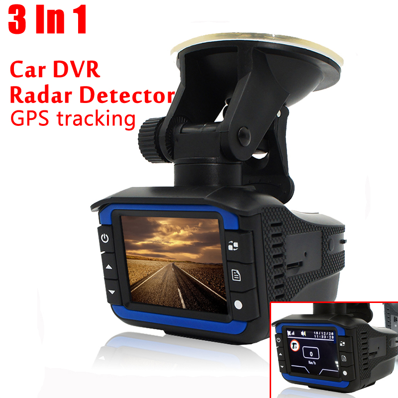 3 In 1 Car Radar Detector GPS Tracker DVR Alarm System Warning Device 2.0 Inch Display 140 Degree Lens Russian Version