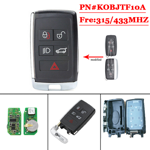 Remodeling 5 button card key  For Landrover 433MHZ/315MHZ