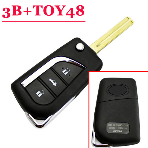 3 button flip key shell toy48 blade for toyota