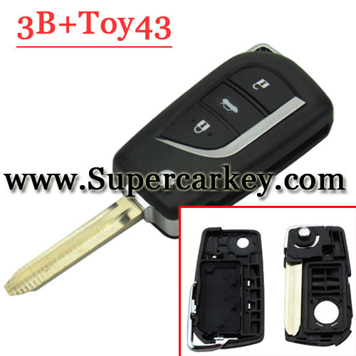 3 Button Flip Remote Key Shell For Toyota(Toy43 Blade)