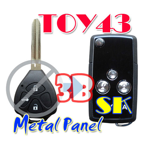 Flip Remote Key Case For Toyota Reiz 3 Button Key Metal Panel