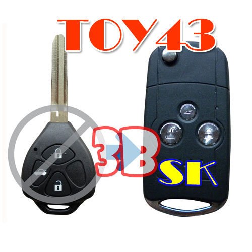 Flip Remote Key Case For Toyota Reiz 3 Button Key Acura Style