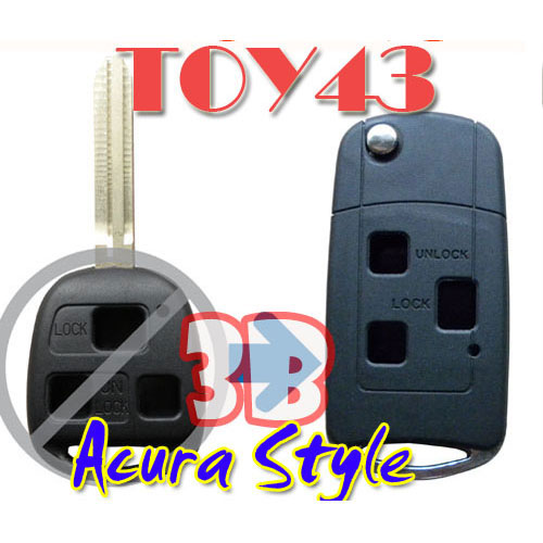 Flip Remote Key Case For Toyota 3 Button Remote Key Acura Style