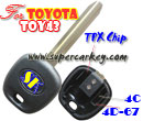 Trandponder key Blank For TPX Chip With Toy43 Blade  for Toyota