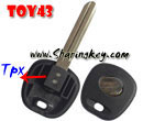 Transponder Key Blank Toy43 For TPX Chip With Metal Logo  for Toyota