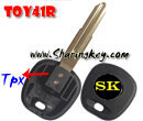 Transponder key blank Toy41R Blade Metal Logo  for Toyota