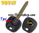 Transponder Key Blank Toy47 For TPX Chip With Metal Logo  for Toyota