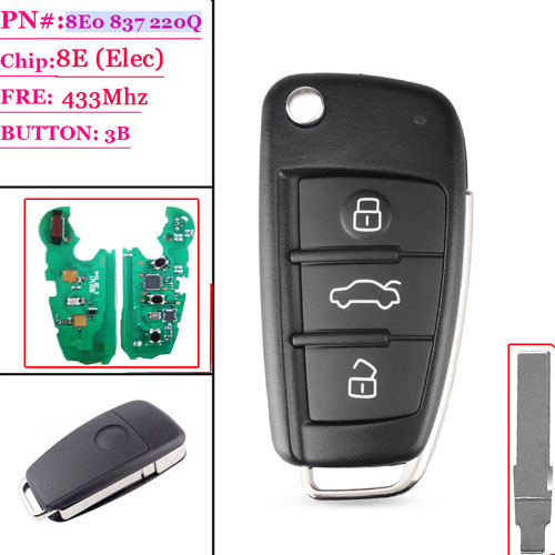 (8E0 837 220Q)3 Button Flip Key For Audi A8 Q7 with 8E Chip 433MHZ