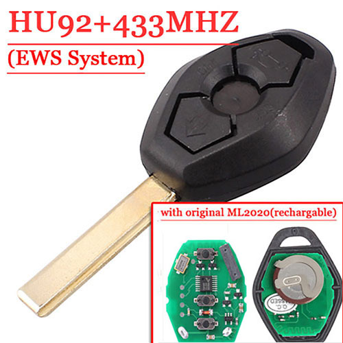 3 Button Remote Key With HU92 Blade 433mhz rechargable battery for EWS BW