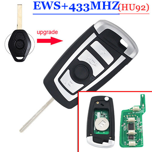 Remodling  HU92 Flip Remote key 433mHZ  With PCf 7935 chip for  BW EWS