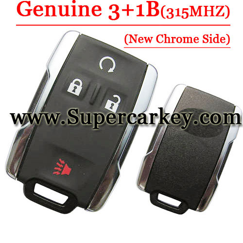 Genuine Chrome Side 3+1 Button Remote Card For Chevy and GM 315MHZ