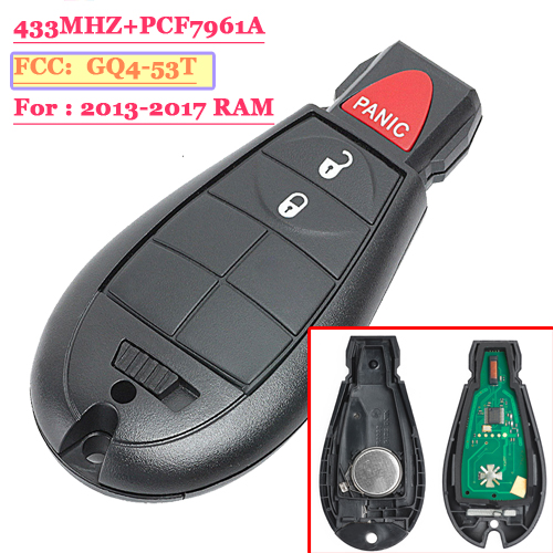 #1 3 Button Fobik Remote Key 433MHz Fob for Chrysler Dodge Jeep  Ram 46 chip M3N5WY783X IYZ-C01C USA PCF7961A