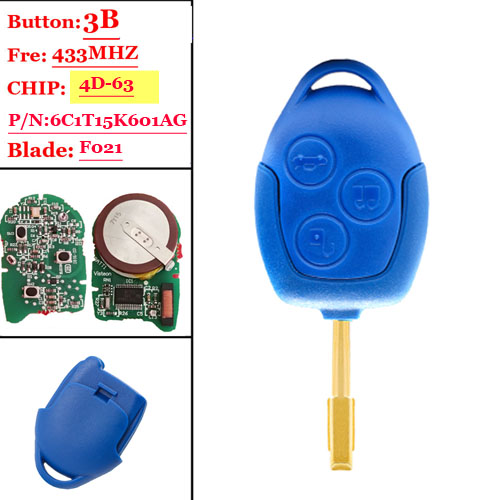 After market 433MHz 4D63 Chip P/N:6C1T15K601AG 3 Button Remote Car Key Fob for Ford Transit WM VM No/With Blue  Blade FO12