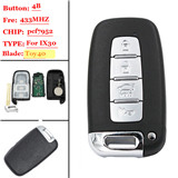4 button Smart remote key For Hyundai 433MHZ(p/n:SY5HMFNA04)
