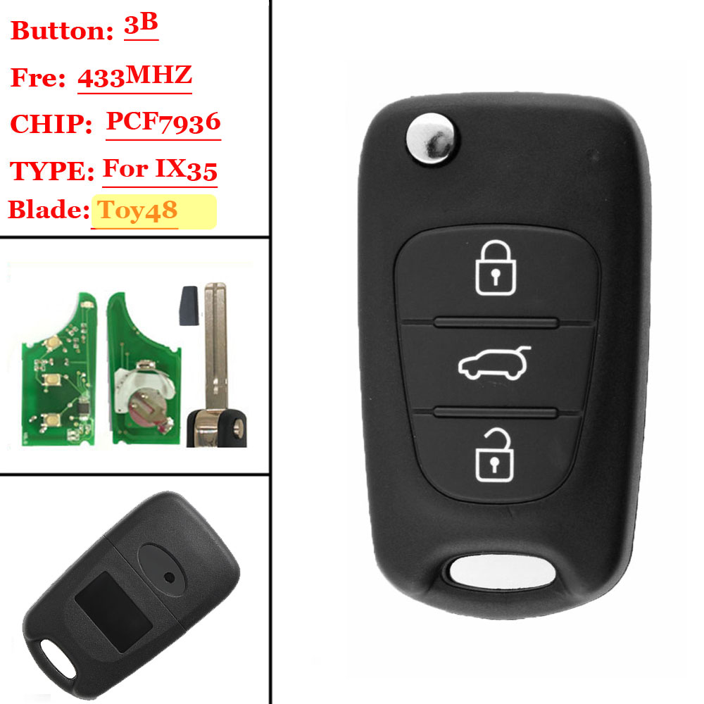 3 Button Flip Remote Key WITH id46 Chip For Hyundai IX35 433mhz