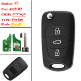 3 Button Flip Remote Key W/ 7936 Chip For Hyundai IX30 433mhz