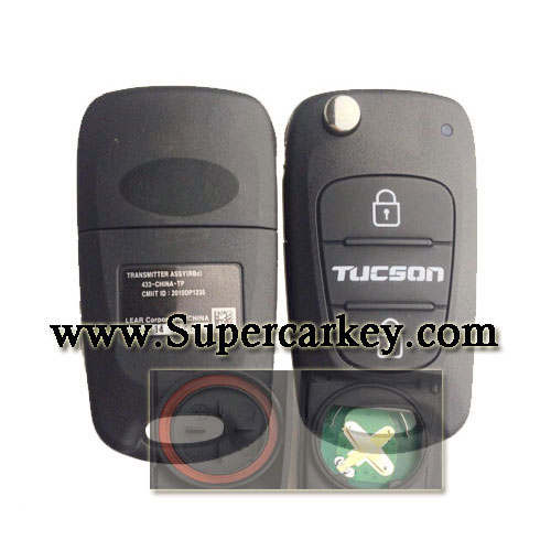 Genuine 3 button flip remote key For Hyundai Tucson 433MHZ