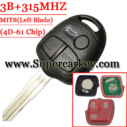 3 Button Remote Key 315MHZ For Mitsubishi With 4D-61Chip(MIT8 Blade)