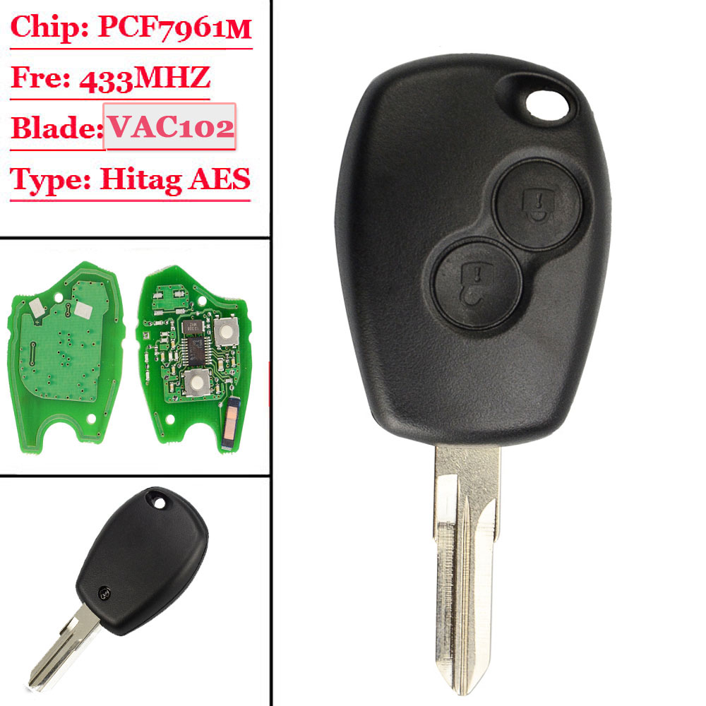2 Button Remote Car Key 433mhz With PCF7961M HITAG AES Chip VAC102 Uncut Blade  VAC102  for Renault Logan II Sandero II