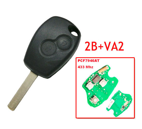 2 Button Remote Key With 7946 Chip VA2 Blade For Renault