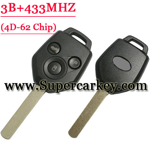 3 Button Remote Key with 433MHZ 4D-62 Chip for Subaru