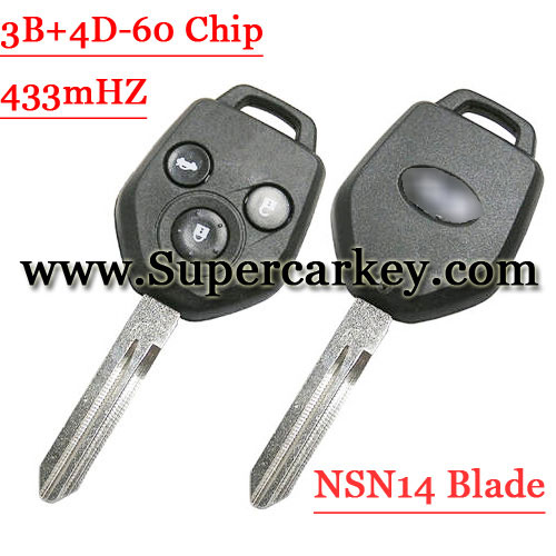 3 Button Remote Key with 433MHZ For Subaru NSN14 Blade 4D-60 Chip