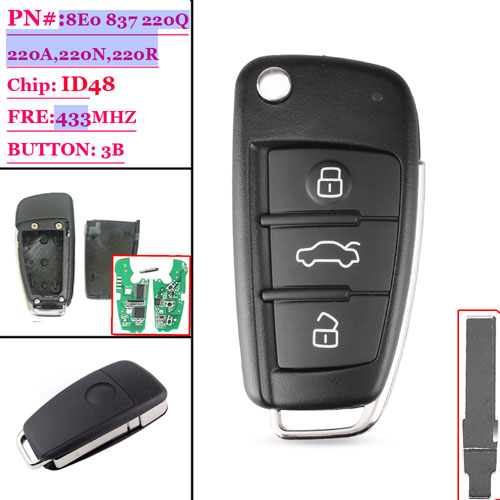(8E0 837 220Q/220D/220K) 3 Button Flip Key For Audi A8 With  48 Chip 433MHZ