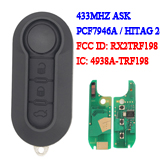 3 Button Flip  PCF7946 Remote key For Fiat 500 433MHZ Del system