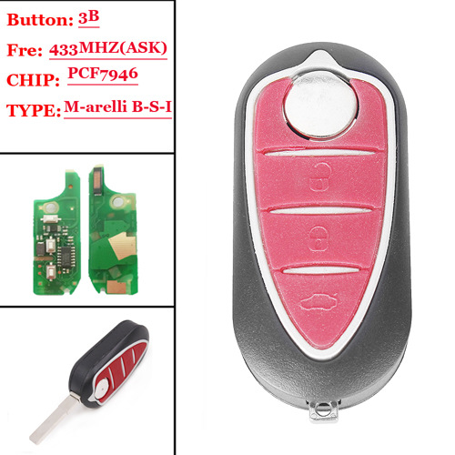 3 button remote key with PCF7946 Chip For Alfa(M-arelli)