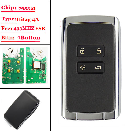 4 btns Smart Remote Car key 433.92Mhz For Renault Megane4 Talisman Espace 5 Kadjar 2015 with PCF7953M HITAG AES 4A CHIP